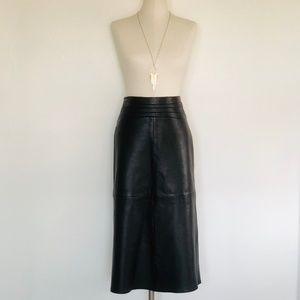 Vintage Midi Leather Skirt - Size 4
